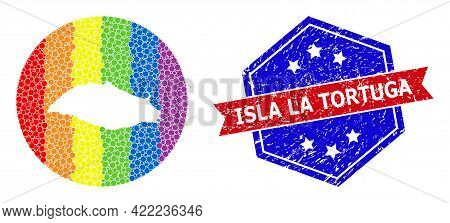 Dot Spectrum Map Of Isla La Tortuga Mosaic Designed With Circle And Subtracted Shape, And Grunge Sta