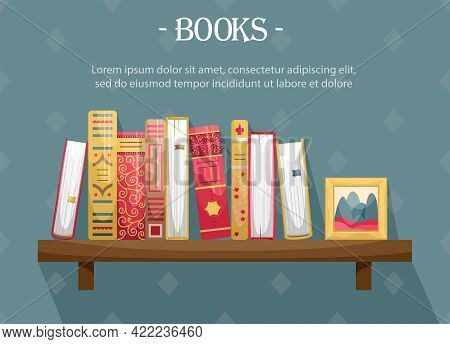 Books With Retro-style Covers On A Wall Bookshelf With A Picture Frame.