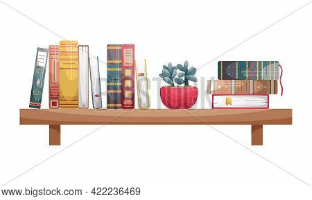 Books With Retro-style Covers On A Wall Bookshelf With A Flower Pot.