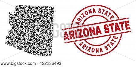 Arizona State Grunge Stamp, And Arizona State Map Mosaic Of Air Force Items. Mosaic Arizona State Ma