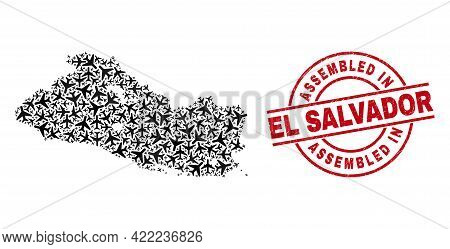 Assembled In El Salvador Rubber Seal, And El Salvador Map Collage Of Air Force Elements. Collage El