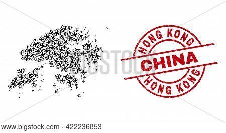 Hong Kong China Rubber Seal Stamp, And Hong Kong Map Collage Of Air Plane Items. Collage Hong Kong M