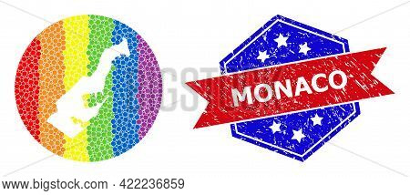 Pixelated Spectral Map Of Monaco Collage Created With Circle And Hole, And Scratched Seal Stamp. Lgb