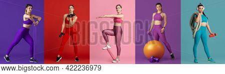 Collage Of Different Professional Sportswomen, Fit People In Action And Motion Isolated On Multicolo
