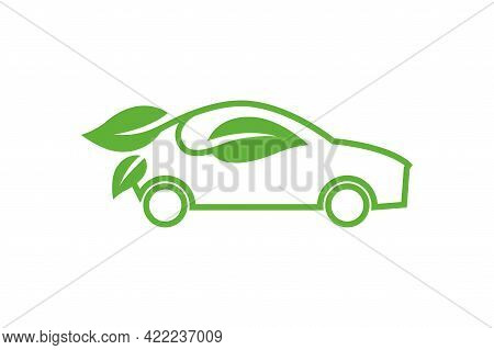 Eco Car Vector Icon. Green Car Template. Ecological Transport Concept. Green Car With Leaves. Safe W