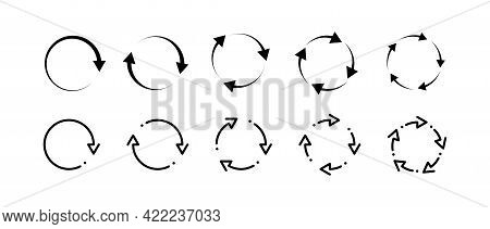 Recycle Refresh Rotate Arrows Icon Set. Recycling Arrow Icon Set. Rotation Arrws Set. Different Arro