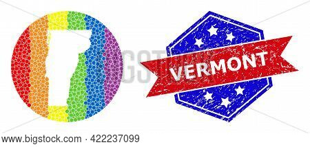 Pixel Bright Spectral Map Of Vermont State Mosaic Created With Circle And Hole, And Distress Stamp.