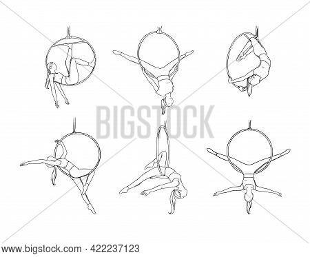 Acrobat Dancer In Circus Hoop. Aerial Dancer Set Isolated In White Background. Sketch Vector Illustr