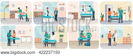 Veterinary Care, Treatment Of Pets Scenes Set. Veterinarian Talking To Owner In Medical Office. Visi