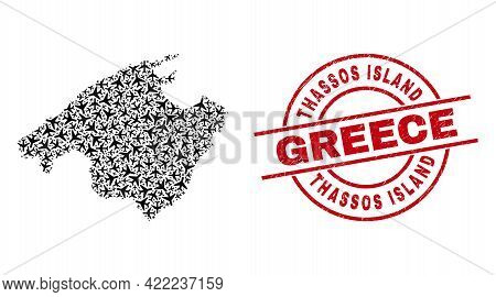 Thassos Island Greece Rubber Seal Stamp, And Mallorca Map Mosaic Of Airliner Elements. Mosaic Mallor