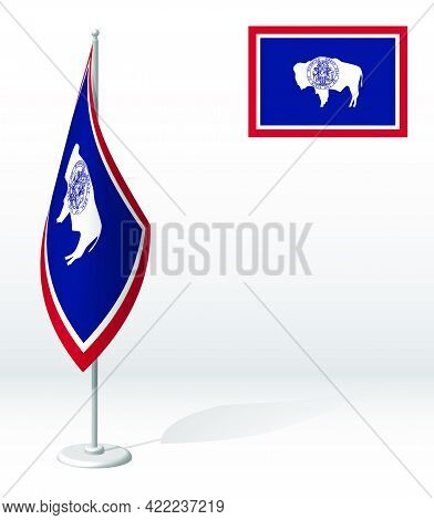 Flag Of American State Of Wyoming On Flagpole For Registration Of Solemn Event, Meeting Foreign Gues