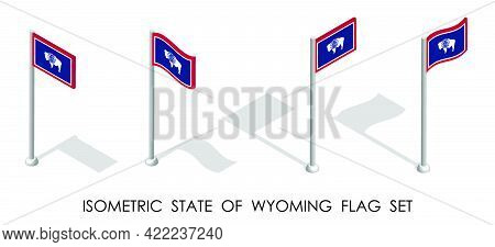Isometric Flag Of American State Of Wyoming In Static Position And In Motion On Flagpole. 3d Vector