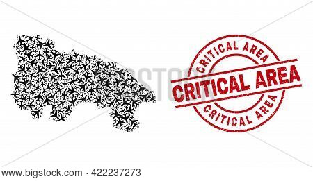 Critical Area Distress Seal, And La Rioja Of Spain Map Collage Of Jet Vehicle Items. Collage La Rioj