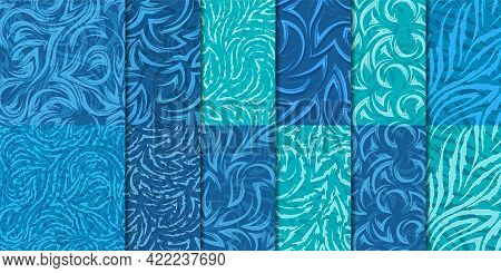 Set Of 12 Seamless Vector Patterns Corners And Waves In Nautical Colors.seamless Geometric Textures