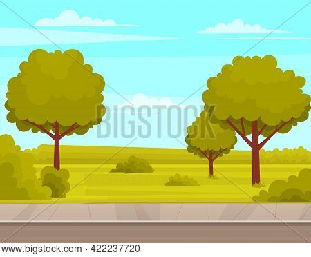 Street With Plants And Asphalt Road. Roadway With Sidewalk Near Summer Park. Landscape With Nature A