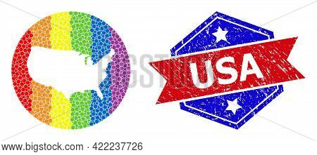 Dotted Spectral Map Of Usa Collage Designed With Circle And Stencil, And Scratched Stamp. Lgbtq Rain