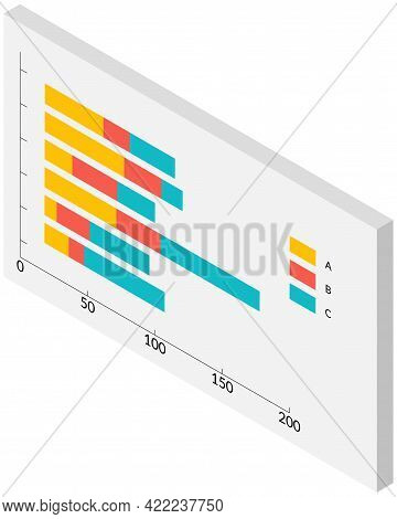 Isometric Infographics. Financial Strategy, Visual Presentation Concept. Analysis Of Business Statis