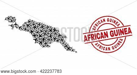 African Guinea Grunge Seal Stamp, And New Guinea Map Mosaic Of Aircraft Items. Mosaic New Guinea Map