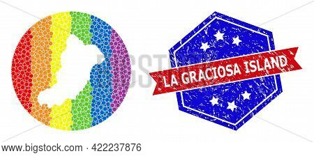 Dot Spectrum Map Of La Graciosa Island Mosaic Designed With Circle And Subtracted Shape, And Grunge