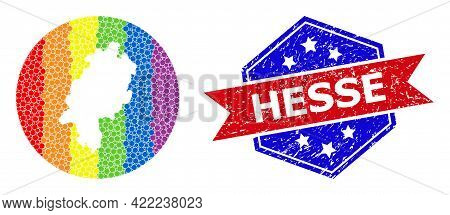 Dot Spectrum Map Of Hesse State Mosaic Designed With Circle And Carved Shape, And Scratched Seal. Lg