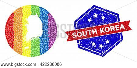 Pixelated Spectrum Map Of South Korea Collage Created With Circle And Carved Shape, And Scratched Wa