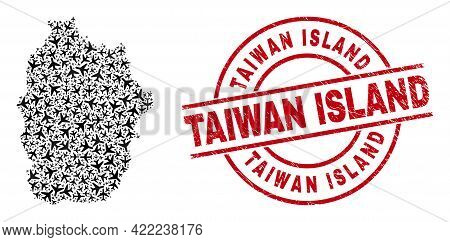 Taiwan Island Rubber Seal Stamp, And Flores Island Of Azores Map Mosaic Of Airplane Elements. Mosaic