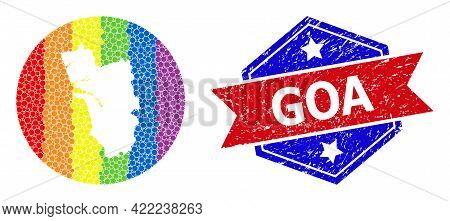 Dotted Spectrum Map Of Goa State Mosaic Formed With Circle And Hole, And Textured Seal. Lgbt Spectru