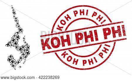 Koh Phi Grunged Stamp, And Koh Phi Leh Map Collage Of Jet Vehicle Items. Collage Koh Phi Leh Map Cre