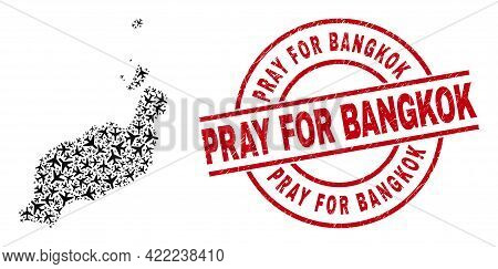 Pray For Bangkok Grunge Seal Stamp, And Lanzarote Islands Map Collage Of Air Plane Elements. Collage