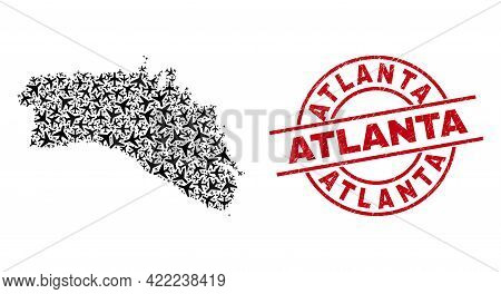 Atlanta Rubber Stamp, And Menorca Island Map Collage Of Airplane Items. Mosaic Menorca Island Map Co