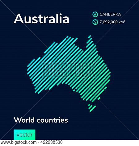 Vector Creative Digital Neon Flat Line Art Abstract Simple Map Of Australia With Green, Mint, Turquo