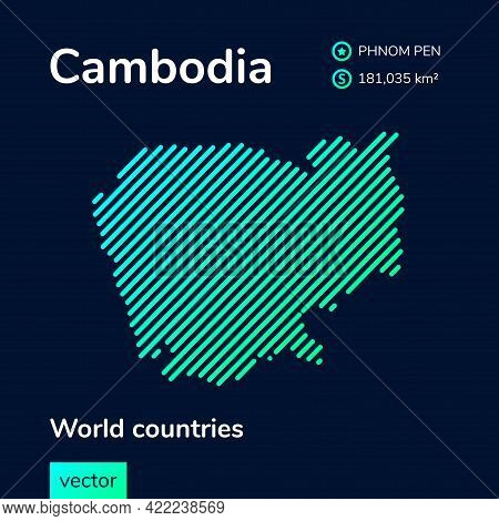 Vector Creative Digital Neon Flat Line Art Abstract Simple Map Of Cambodia With Green, Mint, Turquoi