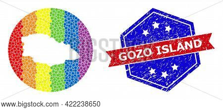 Dotted Spectrum Map Of Gozo Island Mosaic Designed With Circle And Stencil, And Scratched Badge. Lgb