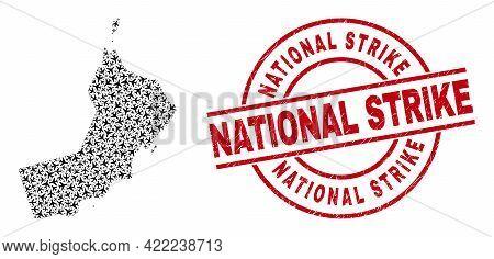 National Strike Rubber Seal, And Oman Map Mosaic Of Aircraft Items. Mosaic Oman Map Created Of Aviat