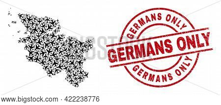 Germans Only Rubber Stamp, And Schleswig-holstein Land Map Collage Of Aviation Elements. Mosaic Schl