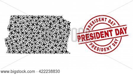 President Day Textured Seal, And Brazil Distrito Federal Map Mosaic Of Aircraft Items. Mosaic Brazil