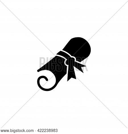 Diploma Scroll With Ribbon, Certificate. Flat Vector Icon Illustration. Simple Black Symbol On White