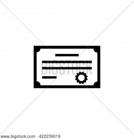 Winner Certificate Or Diploma With Stamp. Flat Vector Icon Illustration. Simple Black Symbol On Whit