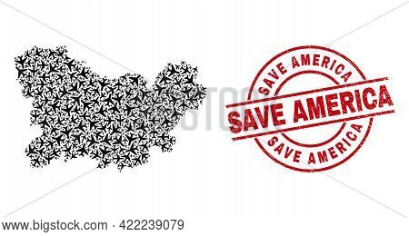 Save America Distress Badge, And Ourense Province Map Mosaic Of Airplane Elements. Mosaic Ourense Pr