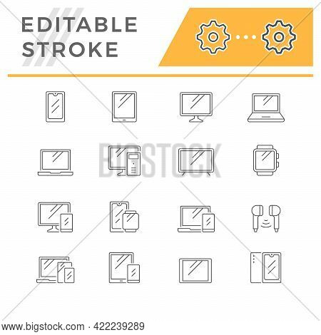Set Line Icons Of Devices And Gadgets Isolated On White