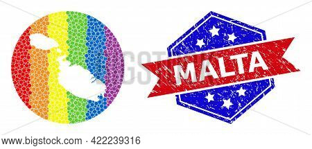 Pixel Spectrum Map Of Malta Mosaic Created With Circle And Stencil, And Textured Badge. Lgbtq Spectr