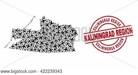 Kaliningrad Region Textured Seal, And Kaliningrad Region Map Collage Of Jet Vehicle Items. Collage K