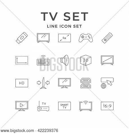 Set Line Icons Of Tv Set Isolated On White