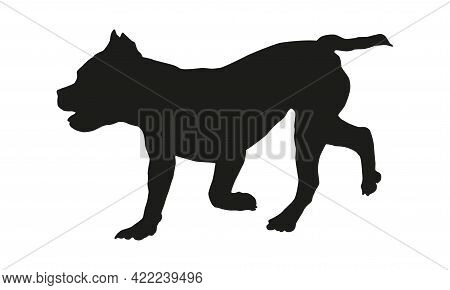 Black Dog Silhouette. Running American Bully Puppy. Pet Animals. Isolated On A White Background. Vec
