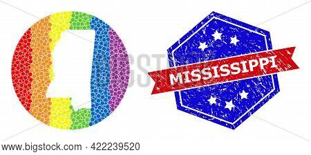 Pixel Rainbow Gradiented Map Of Mississippi State Collage Designed With Circle And Stencil, And Dist