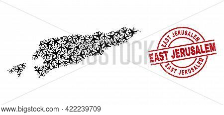 East Jerusalem Rubber Seal Stamp, And East Timor Map Collage Of Air Plane Elements. Collage East Tim