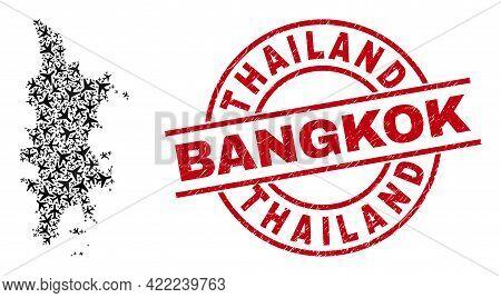 Thailand Bangkok Rubber Badge, And Phuket Map Mosaic Of Air Force Items. Mosaic Phuket Map Created W