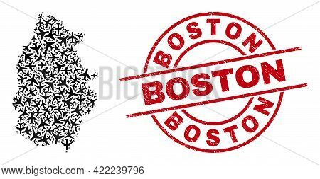 Boston Distress Seal, And Lugo Province Map Mosaic Of Aircraft Elements. Collage Lugo Province Map C