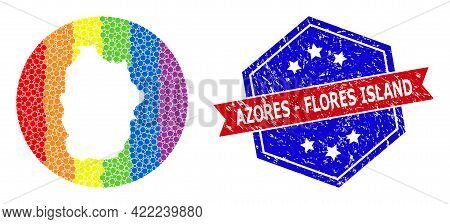 Dotted Spectrum Map Of Azores - Flores Island Mosaic Created With Circle And Stencil, And Distress S