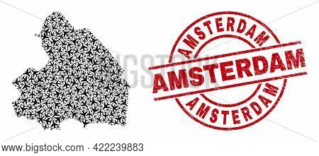 Amsterdam Grunge Seal Stamp, And Drenthe Province Map Collage Of Aviation Items. Collage Drenthe Pro